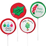 "Holiday Greeting Hard Candy Lollipops-Set of eight-3 different XMAS wishes-""Merry Christmas, Happy Holidays & Seasons Greetings"" Custom Lollipal Stocking Stuffer."