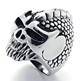 Daesar Stainless Steel Rings Mens Rings Silver Black Rings Skull Men's Rings 35mm