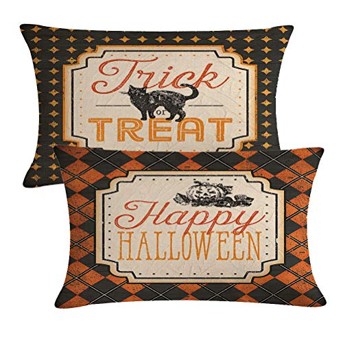 Black Cat Patterns Halloween (2Pack Halloween Decor Pillow Covers Black Cat /Pumpkin Pattern Pillow Case with Happy Halloween/Trick or Treat Quote Decorative Rectangular/Waist Pillow Cushion Cover 12 x 20)