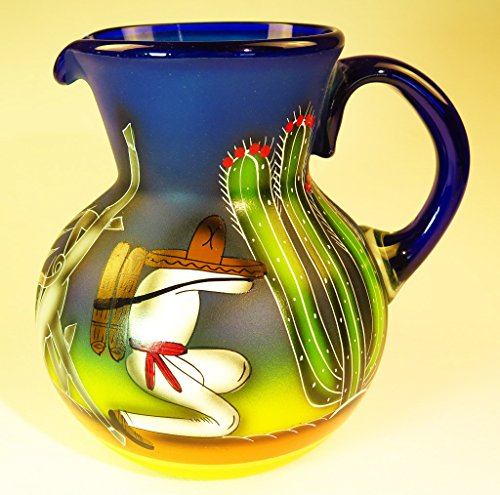 Mexican Glass Margarita or Ice Tea Pitcher, Hand Painted with Poncho, Agave and Saguaro Cactus (Hand Ice Painted)