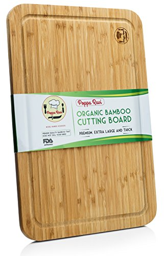 Bamboo Cutting Boards For Kitchen By Poppa Ravi - Anti Bacterial, Organic, Premium Quality and Eco-friendly Bamboo Chopping Board - Extra Large Bamboo Cutting Board With Juice Groove (Eco Cutting Friendly Board)
