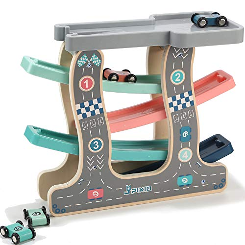 Jamohom Wooden Ramp Race Car, Race Track Parking Garage Set, 4 Wood Lanes with 4 Small Racers for 1 2 3 Year Old Boy and Girl Gifts (Car Race Wooden)