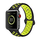 AdMaster for Apple Watch Bands 42mm,Soft Silicone Replacement Wristband for iWatch Apple Watch Series 1/2/3 - M/L Black/Volt