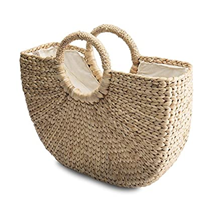 BACOHO Natural Chic Hand Woven Round Handle Handbags - Water Hyacinth Handmade Ladies Ring Tote Retro - Casual Summer Bag Beach Meaningful Birthday Gift For Women (Large: 15.7x12 H inches)