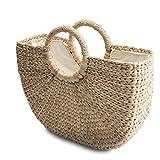Natural Chic Hand Woven Round Handle Handbags Water Hyacinth Handmade Summer Bag