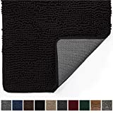 Gorilla Grip Original Indoor Durable Chenille Doormat, 30x20, Absorbent, Machine Washable Inside Mats, Low-Profile Rug Doormats for Entry, Mud Room, Back Door, High Traffic Areas, Black