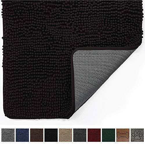 Gorilla Grip Original Indoor Durable Chenille Doormat, (48x30) Absorbent, Machine Washable Inside Mats, Low-Profile Rug Doormats for Entry, Mud Room Mat, Back Door, High Traffic Areas (Black)