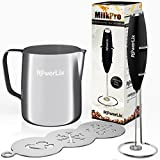 PowerLix Milk Frother COMPLETE SET! Handheld Battery Operated Electric Foam Maker For Coffee, Latte, Cappuccino, Hot Chocolate, Durable Drink Mixer With Stainless Steel Whisk, Stainless Steel Stand