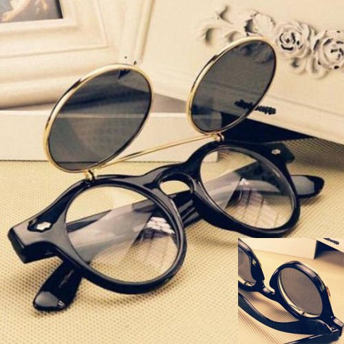 Steampunk Goth Goggles Glasses Retro Flip Up Round Sunglasses Brown - 6