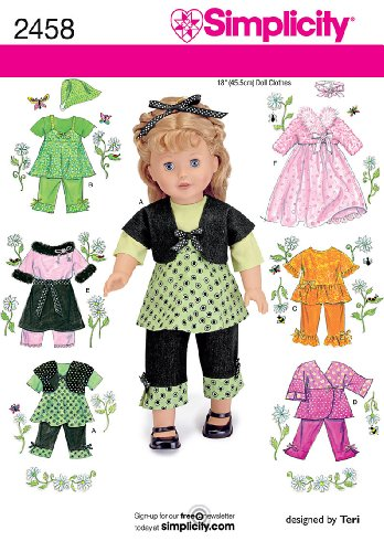 UPC 039363524588, Simplicity Sewing Pattern 2458 Doll Clothes, One Size