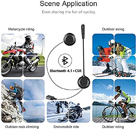 QSPORTPEAK Motorcycle Helmet Wireless Bluetooth Headset Headphones for Helmets Wireless Headphones with Microphone Sound System for Motorcycle 0.27 inches Silm