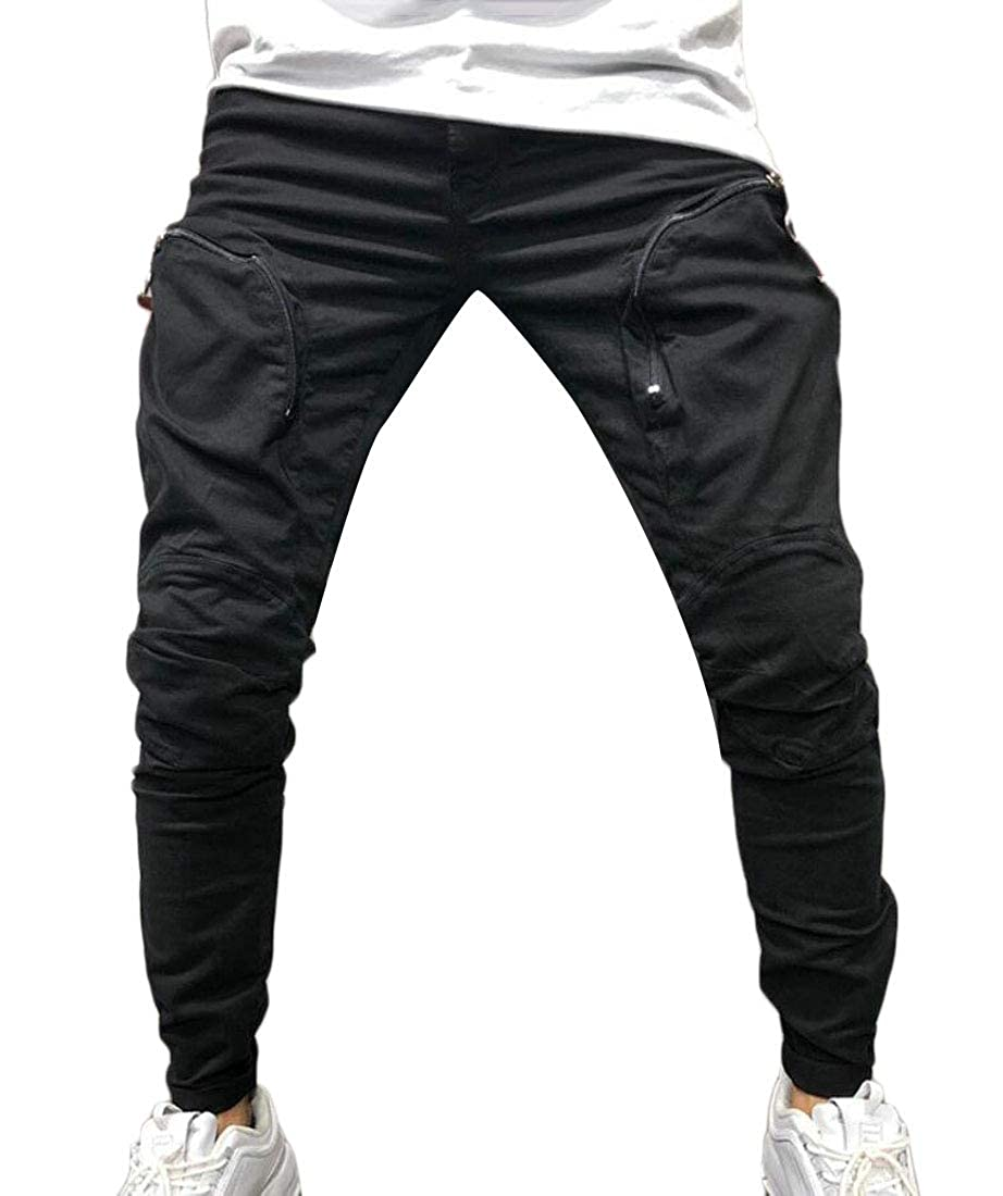 Yayu Mens Classic Joggers Sport Zipper Pockets Pants