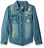Lucky Brand Toddler Boys' Long Sleeve Light Denim Shirt, Light Blue, 3T