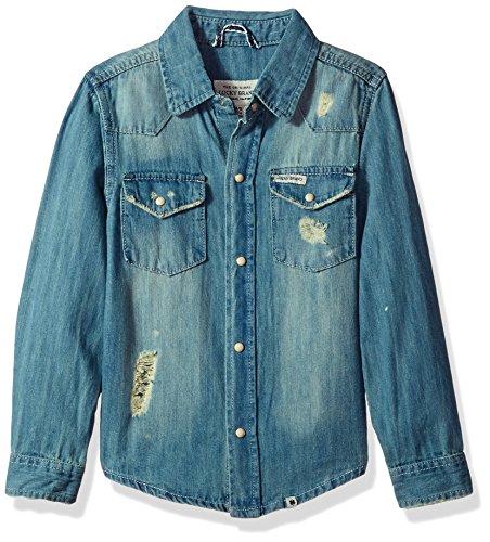 Lucky Brand Toddler Boys' Long Sleeve Light Denim Shirt, Light Blue, 4T by Lucky Brand