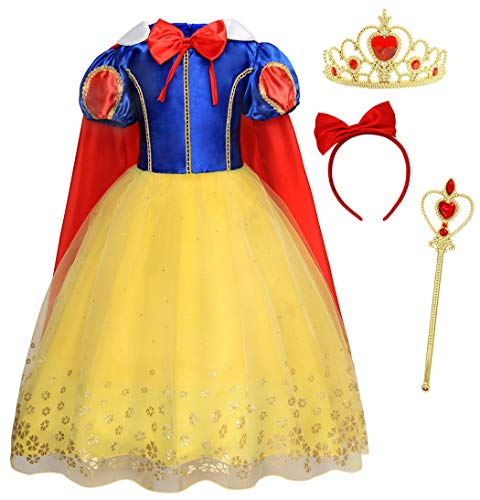 HenzWorld Snow White Princess Costume Girls Birthday Party Dress Accessories Tiara Wand Set -