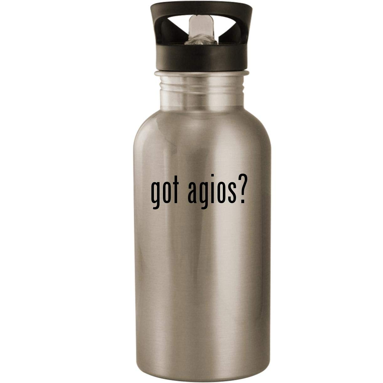 got agios? - Stainless Steel 20oz Road Ready Water Bottle, Silver