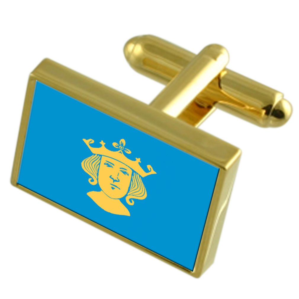 Stockholm City Sweden Gold-tone Flag Cufflinks