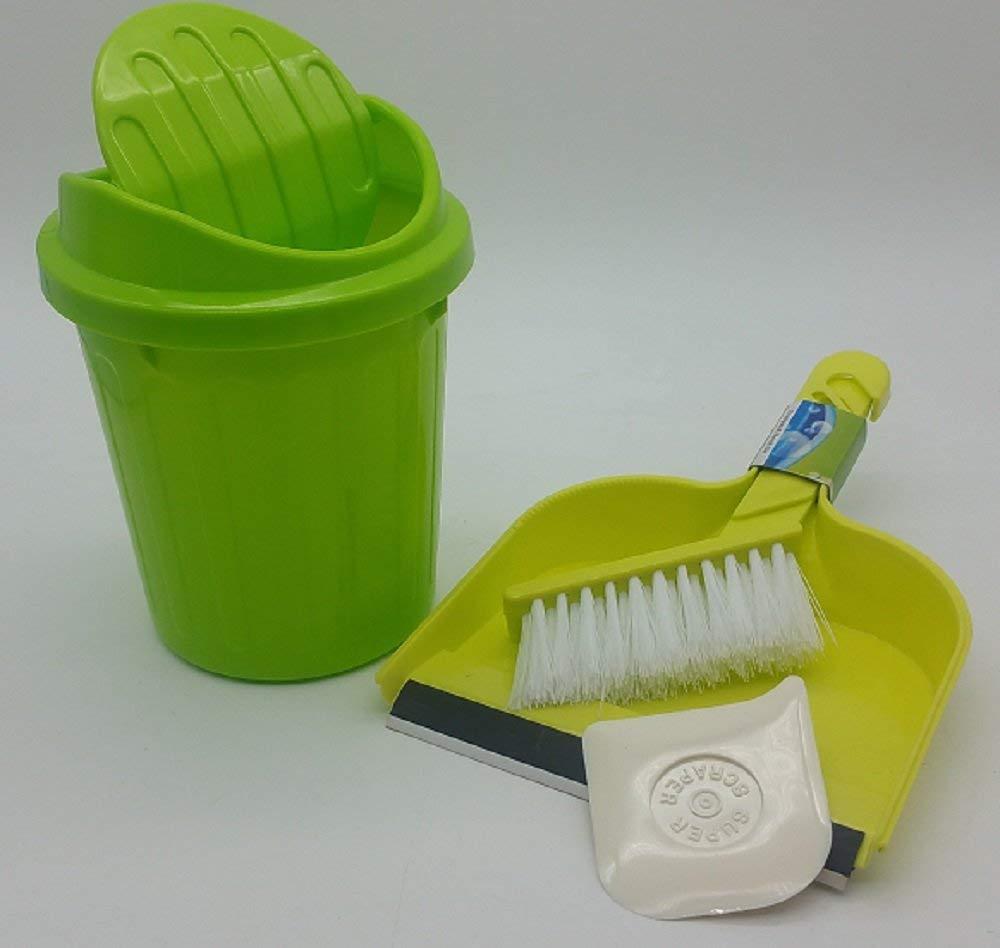 デスクトップクリーニングバンドルwith Miniスイング蓋ゴミ箱ごみ箱、ミニちりとり、ブラシand Scraper グリーン B07FPQDTRB グリーン