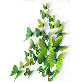 Yikai 12PCS 3D Green Butterfly Wall Stickers with Art Decal Satin Paper Butterflies DIY Removable Sticker For Kids Room