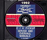 1992 Chevy Truck Pickup Factory Repair Shop and Service Manual CD - C / K 1/2 Ton to 1 Ton 1500 2500 3500 Extended Cab Suburban Full-Size Blazer 2WD 4WD Gas Diesel