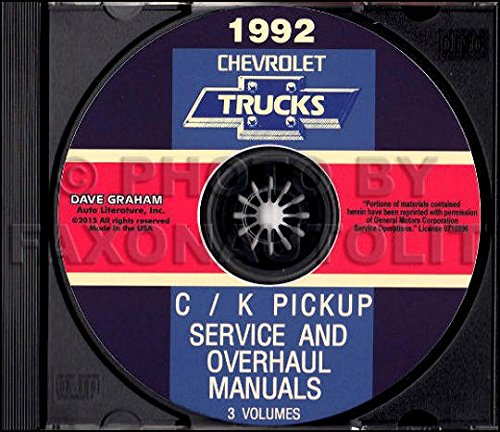 (1992 Chevy Truck Pickup Factory Repair Shop and Service Manual CD - C / K 1/2 Ton to 1 Ton 1500 2500 3500 Extended Cab Suburban Full-Size Blazer 2WD 4WD Gas Diesel)