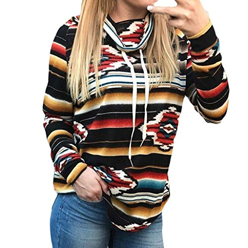 Hotcl Christmas Women Plus Size Autumn Winter Sweater Pullover Ruched Long Foldover Collar Tunic Sweatshirt Top Blouse (E_Black, S)