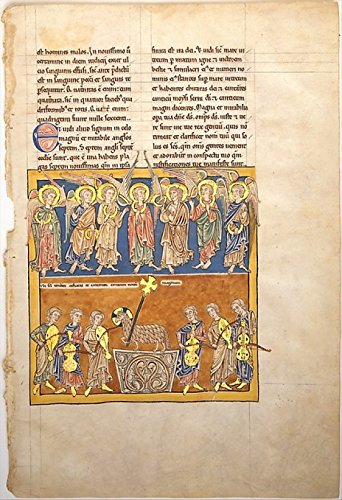 Leaf from a Beatus Manuscript Seven Angels Hold the Cups of the Seven Last Plagues The Hymn of the Lamb Poster Print (18 x 24)