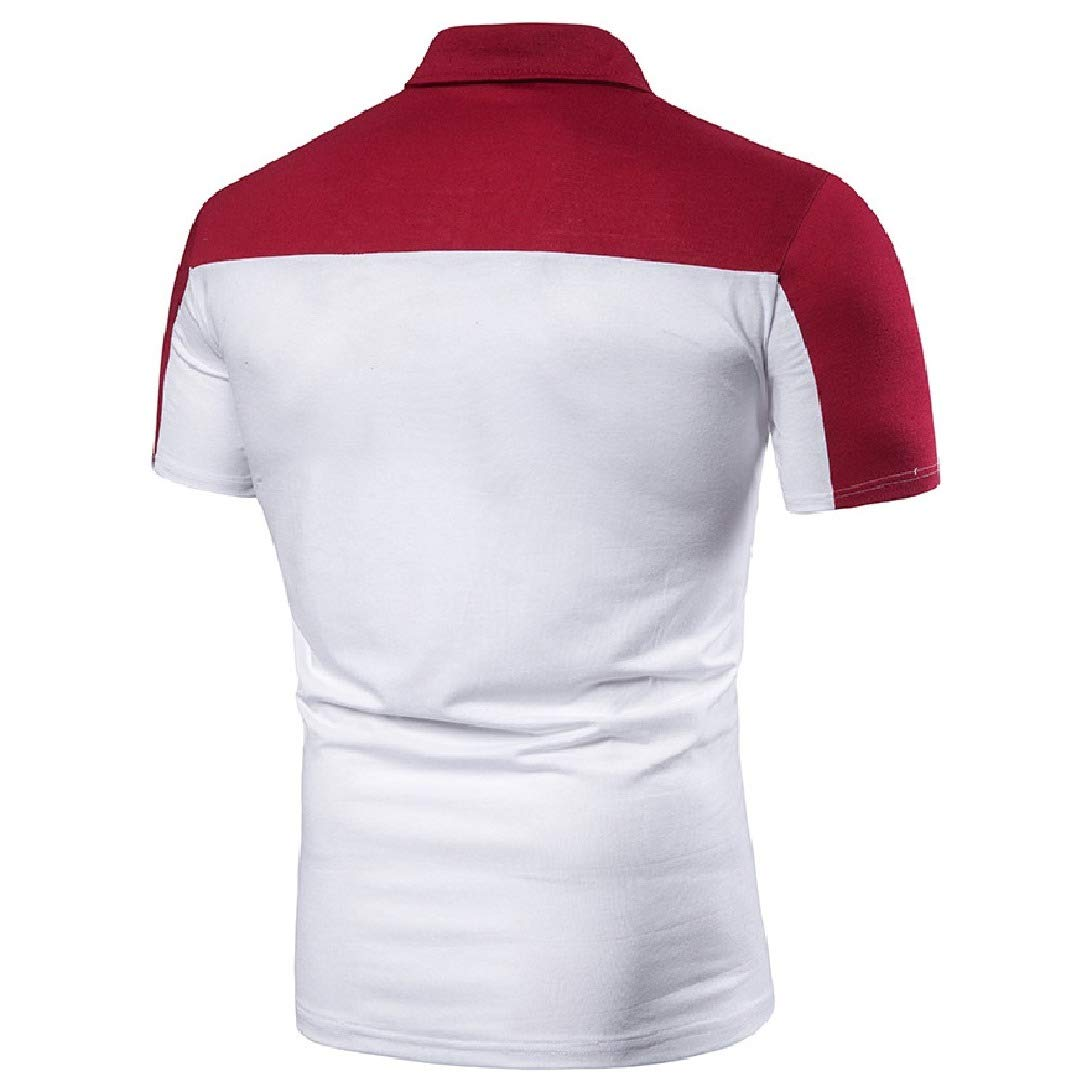 VITryst-Men T-Shirts Silm Fit Color Conjoin Short Sleeve Classic Polo Shirt