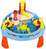 Quickdraw Childrens Lighthouse Water Mill Play Table Fishing Game Lights & Sound