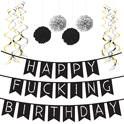 Sterling James Co. Funny Birthday Party Pack – Black & Silver Happy Birthday Bunting, Poms, and Swirls Pack- Birthday Decorations - 21st - 30th - 40th - 50th Birthday Party -