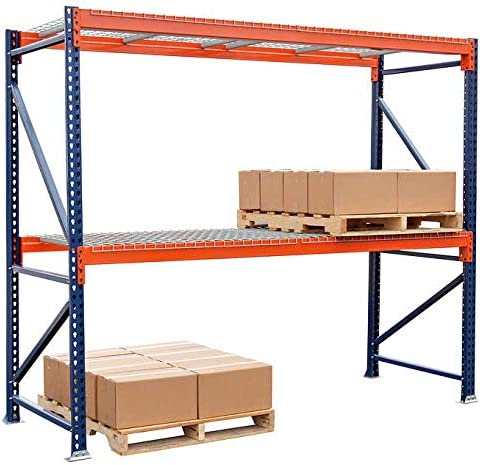 8,780 lbs Industrial Shelving for Warehouse Storage 96 W x 144 H x 42 D Capacity Storage-Pro Pallet Rack Starter Unit with Wire Decking Orange and Blue