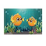 KOTOM Kids Love Fish Decor, Two Puffer Fishes under the Sea with Water Plants Bath Rugs, Non-Slip Doormat Floor Entryways Indoor Front Door Mat, Kids Bath Mat, 15.7x23.6in, Bathroom Accessories