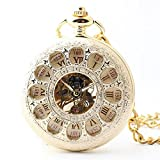 Zxcvlina Classic Smooth Exquisite Hollowed Mechanical Pocket Watch with Chain Boutique Unisex Retro Roman Numberals Pocket Watch Golden Suitable for Gift Giving