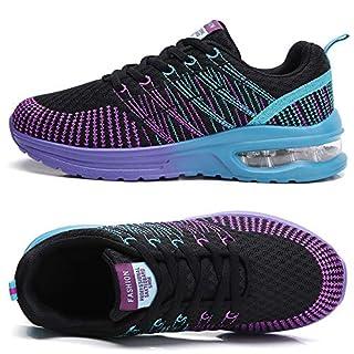 TSIODFO Women Sport Running Tennis Walking Shoes mesh Breathable Comfort Ladies Cushion Gym Athletic Jogging Sneakers Black Purple Size 8