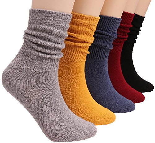 5 Pairs Women Knit Cotton Crew Socks Fashion Slouch Casual Socks Size 5-10,S14 (mixed color2)