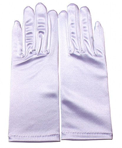 Miranda's Bridal Women's Wrist Length Formal Satin Gloves White