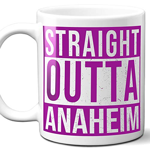 Straight Outta Anaheim USA Souvenir Mug Gift. Love City Town Lover Coffee Unique Cup Men Women Birthday Mothers Day Fathers Day Christmas. Purple. 11 oz.