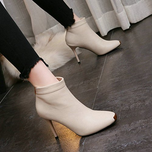 AJUNR-Ladies New Fashion Shoes Martin Boots Retro Square Metal Sheet Pu Simple Bare Boots Sexy Woman With Fine High-Heeled Shoes Boots Commuter Tide Beige Ks23gF40k6