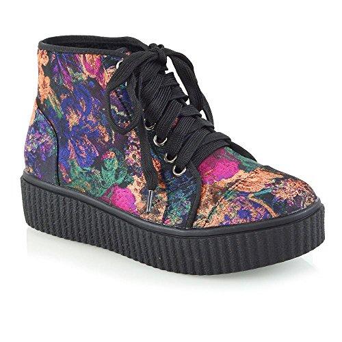 ESSEX GLAM Mujer Ata Para Arriba Botines Señoras Plataforma La Cuña Zapatos Negro Floral