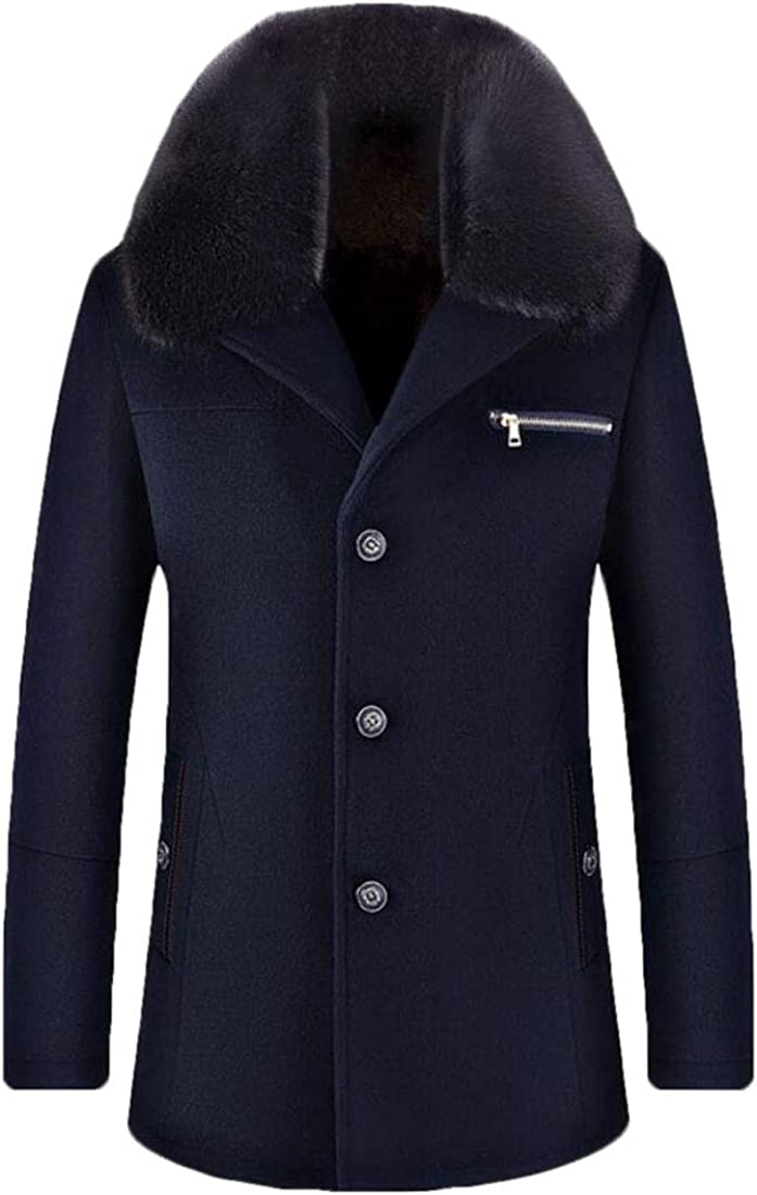 XQS Mens Warm Single Breasted Wool Trench Coat Overcoat with Fur Collar