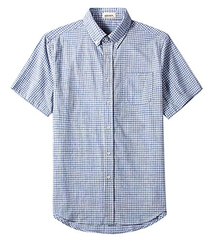 utcoco Men's Classic Fit Buttoned Collar Dye-Plaid Short Sleeve Linen Casual Shirts (XX-Large, Blue and White)