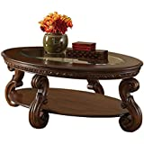 Homelegance Cavendish Oval Cocktail Table, Warm Cherry