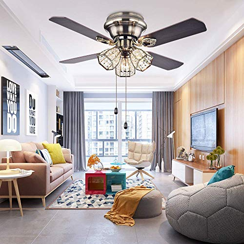 312 Ultra Flush - LuxureFan Flush Mount Crystal Ceiling Fan Light Fixture with 4 Wood Blade 3 Speed Remote Led Ceiling Fan Light Bulbs Decorates Living Room/Bedroom Modern Chandelier (42Inch)