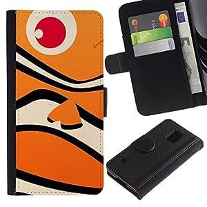WINCASE (No Para S5 Mini) Cuadro Funda Voltear Cuero Ranura Tarjetas TPU Carcasas Protectora Cover Case Para Samsung Galaxy S5 V SM-G900 - mar foco brillante chispa brillante