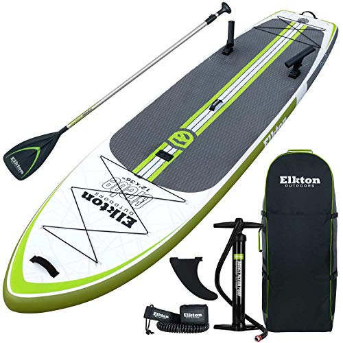 Elkton Outdoors Grebe 12-Foot Inflatable Fishing Paddle-Board with Non-Slip Eva Foam Deck, Includes 2 Fishing Rod Holders, Accessory Mount, Carry Bag, Aluminum Paddle, High Pressure Pump, Ankle Leash