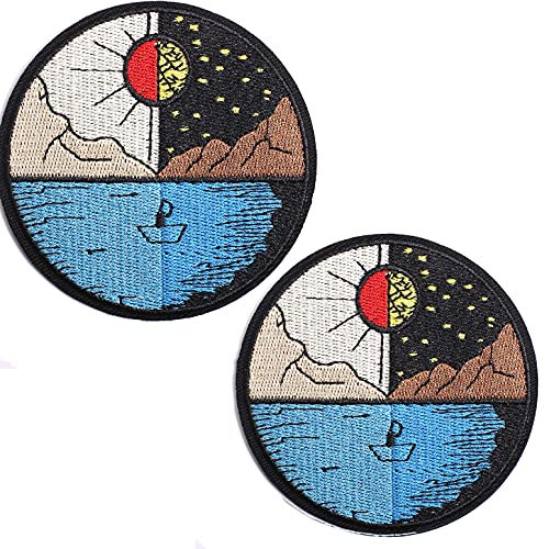 AXEN from Day to Night Patches Embroidered Iron-on Badge Patches, Iron On Sew On Emblem Patches DIY Accessories, Pack of 2