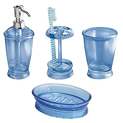 mDesign Bath Accessory Set, Soap Dispenser Pump, Toothbrush Holder, Tumbler, Soap Dish - 4 Pieces, Cobalt Blue - Set of 4 bathroom essentials Adds, clean, classic style to any bathroom Refillable 12 oz. dispenser for soaps and lotions - bathroom-accessory-sets, bathroom-accessories, bathroom - 51idPVlYoqL. SS400  -