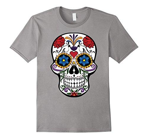 Men's Sugar Skull Shirt Hispanic Flower Halloween Costume Medium Slate