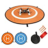 Waterproof Universal Portable Foldable Landing Pad Reflect Light Double Sided Quadcopter Landing Pads for DJI Spark Mavic Pro Drone with Land Nails & Storage bag Set (S-22''(55cm))