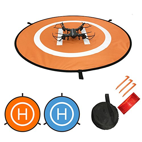 Waterproof Universal Portable Foldable Landing Pad Reflect Light Double Sided Quadcopter Landing Pads for DJI Spark Mavic Pro Drone with Land Nails & Storage bag Set (S-22''(55cm)) by Gooteff